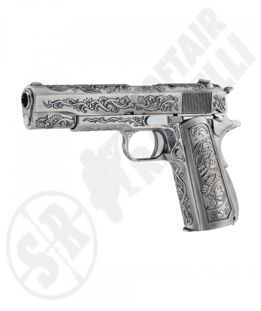 "Pistola a Gas 1911 Special Edition ETCHED SE - ""Mehico Druglord"" - Cromato/Chrome - WE (1172)"