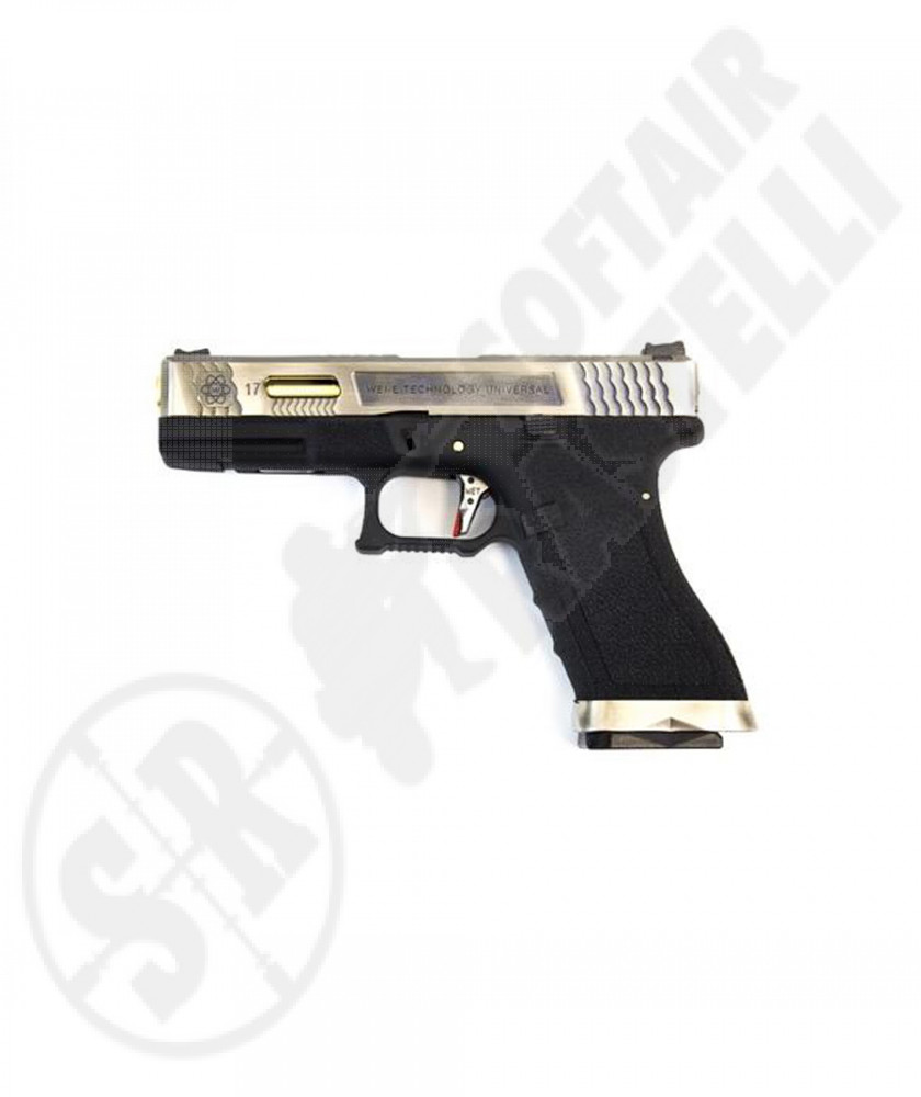Pistola a Gas Glock 17 G17 Custom - Silver/Oro/Nera - WE (1181)