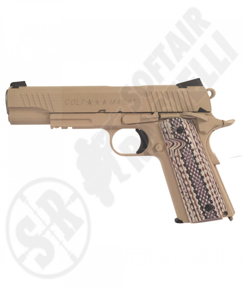Pistola 1911 a co2 con Loghi originali Colt Tan
