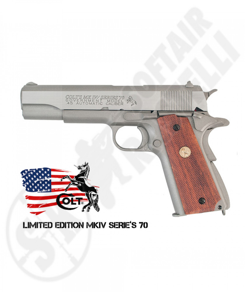 Pistola Colt 1911 Government MK IV / Serie 70™ a CO2 - Silver - Scarrellante - 17 BBs - KWC by CyberGun (180529)