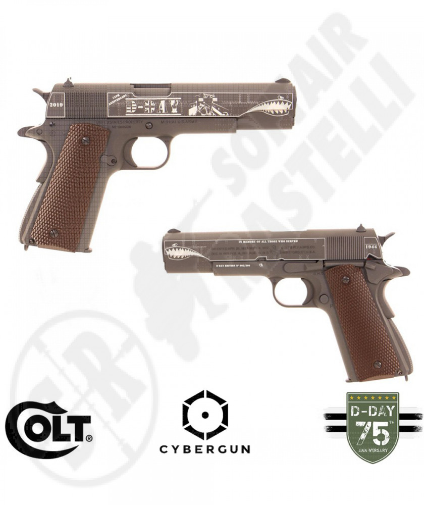 Pistola a Co2 M1911A1 D-Day (Parkerized)- Full Metal con Loghi Originali -  Colt by Cybergun (180575)