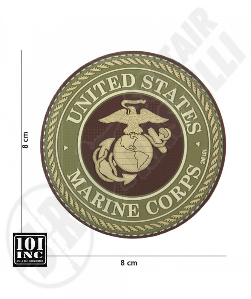 Patch 3D PVC con Velcro United States Marines Corps Marrone 101 INC (444130-5092)