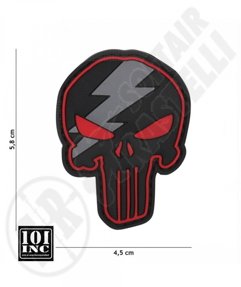 Patch 3D PVC con Velcro Punisher Thunder Rosso 101 INC (444130-5304)
