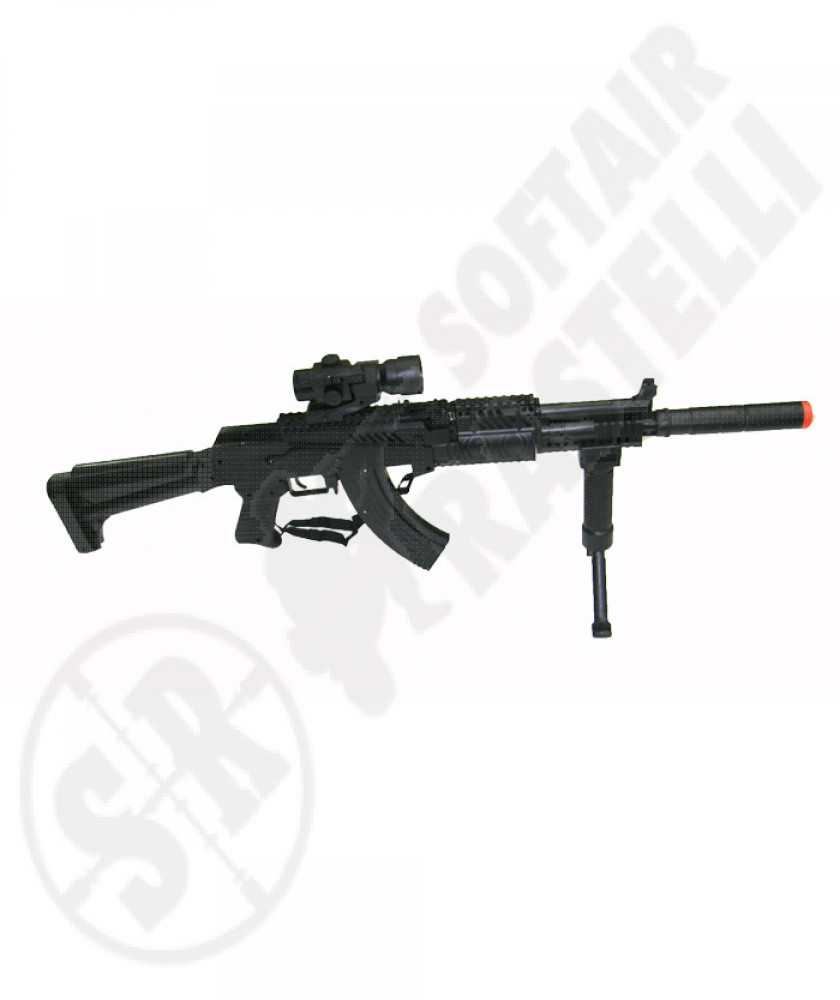 Fucile a molla AK 47 Tactical con silenziatore e red dot