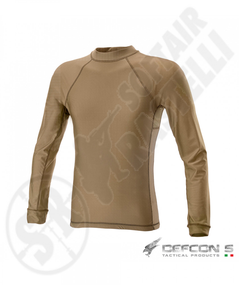 T-Shirt a Manica Lunga in Lycra® + Mesh - Coyote Tan - Defcon 5