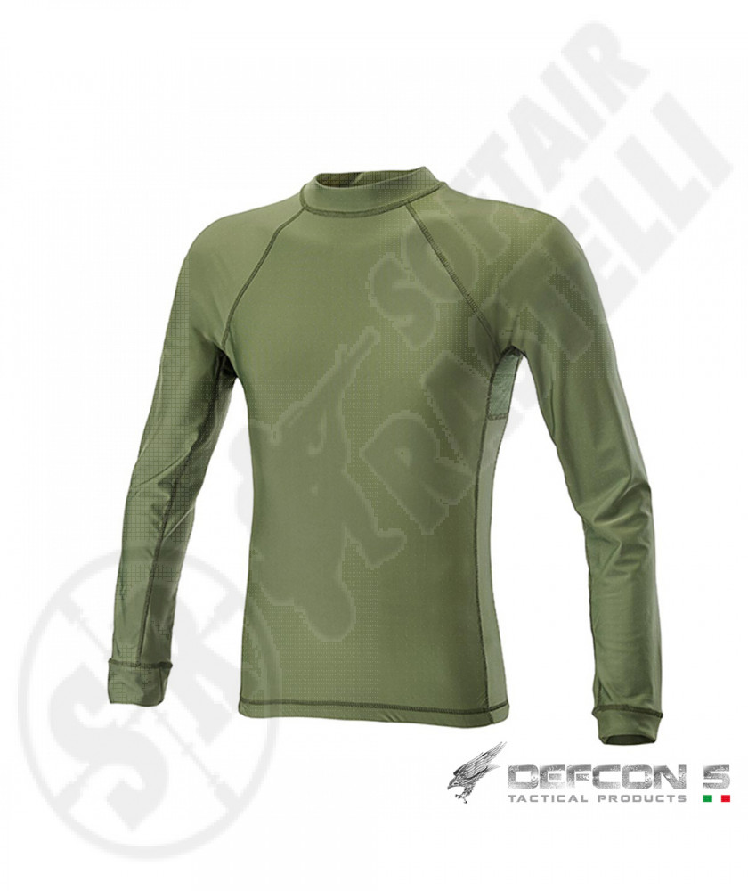"""T-Shirt a Manica Lunga in Lycra® + Mesh - Olive Drab """"Verde"""" - Defcon 5"""