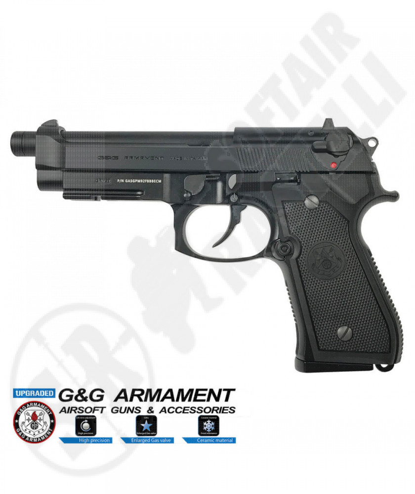 Pistola a Gas GPM-92F GP2 Military NUOVA Versione - Nera - Scarrellante - Full-Metal - G&G (GG-M92-GP2)