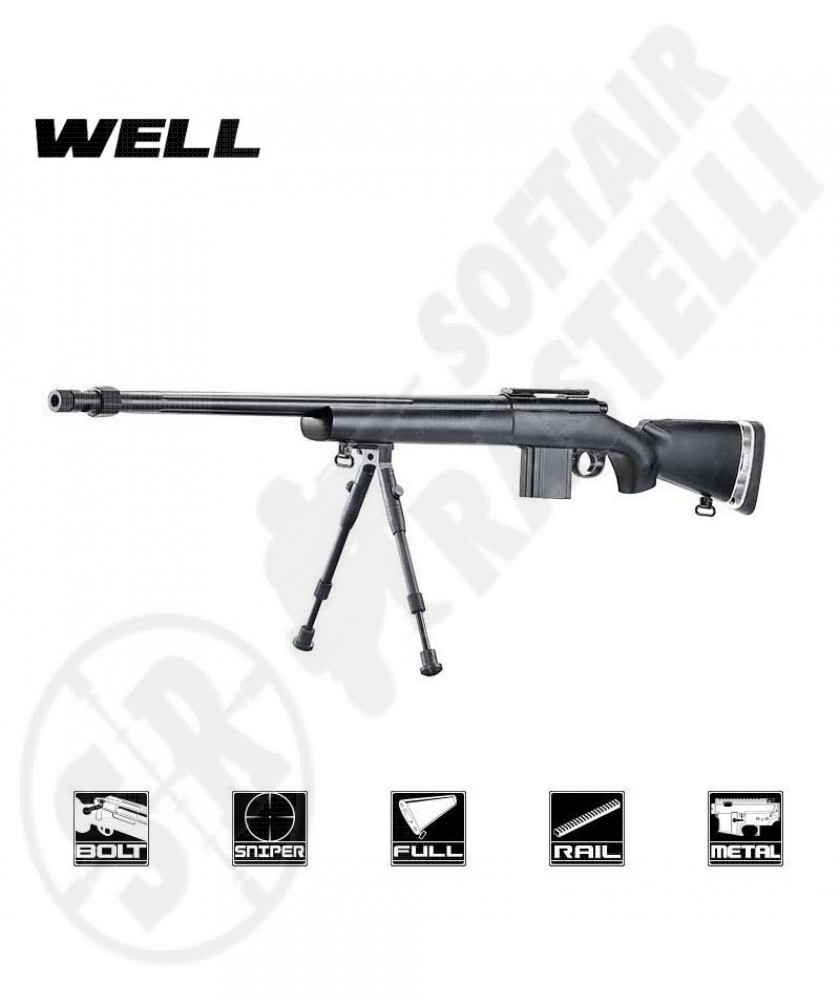 Carabina a molla MB4405B Sniper Bolt Action con bipiede - Well
