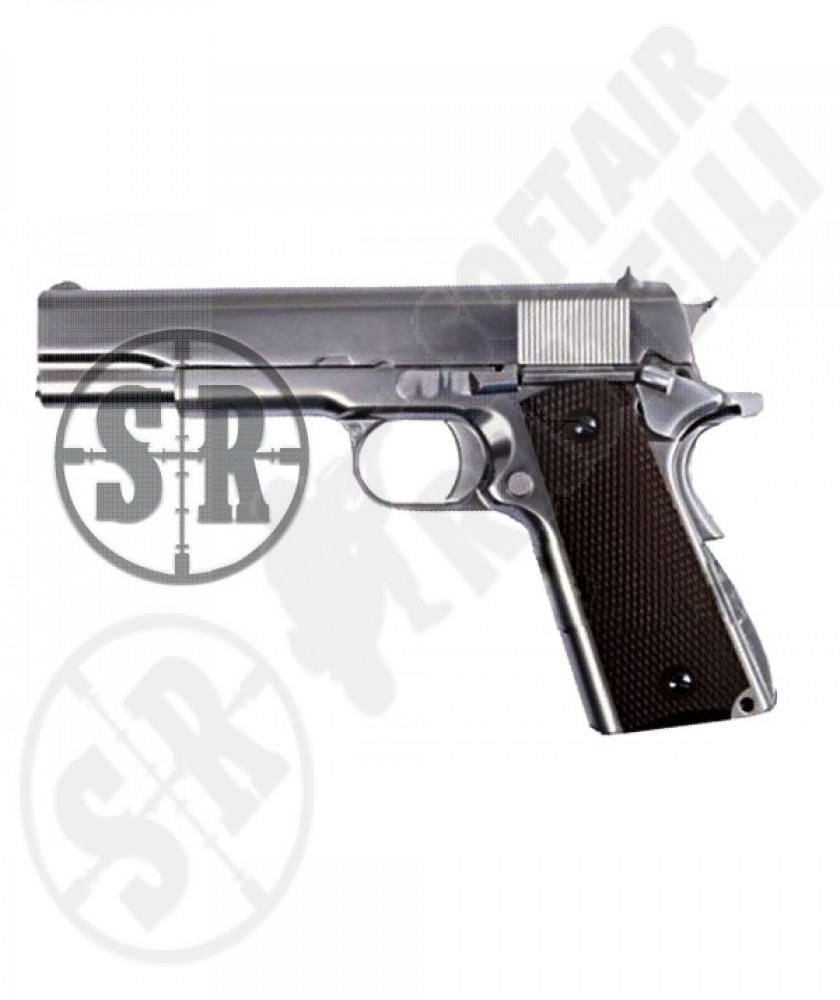 Pistola 1911 matte chrome full metal a gas