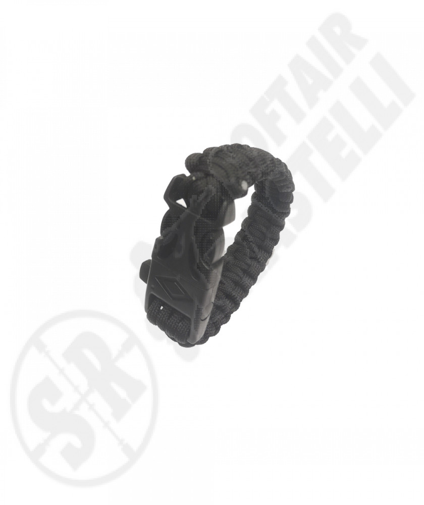 Braccialetto Survival Paracord - Nero - con acciarino e fischietto