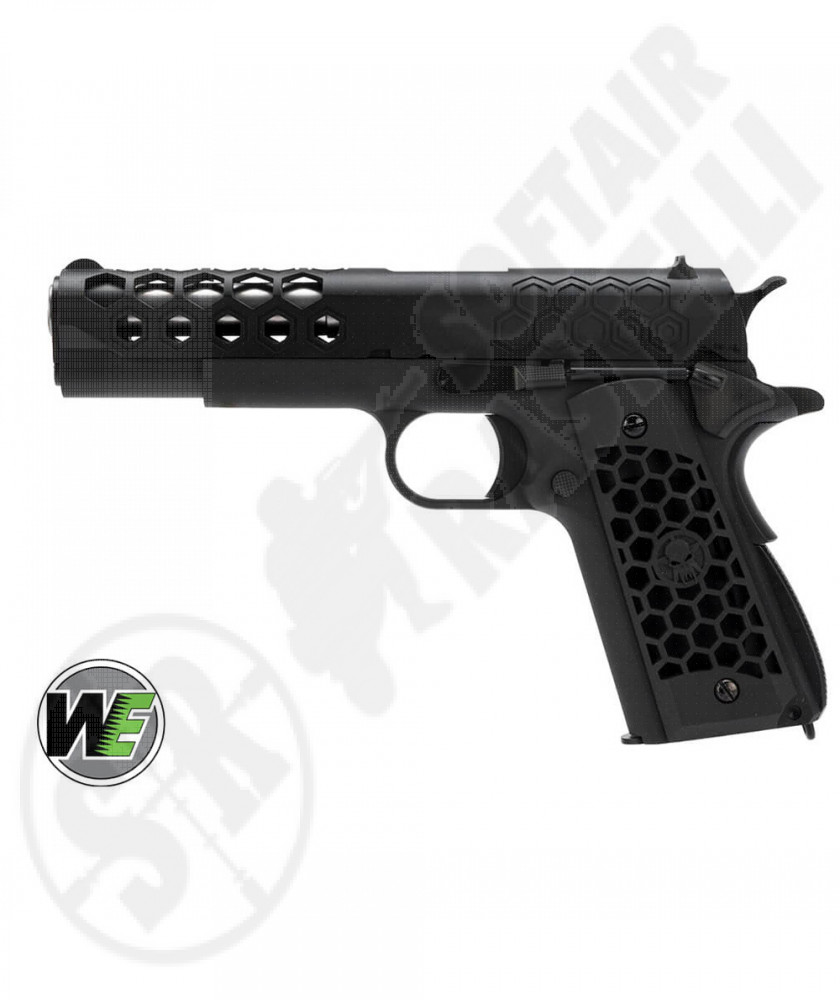Pistola a Gas 1911 Hex Cut GEN2 - Scarrellante - Full-Metal CNC - Nero - WE (WE16B)