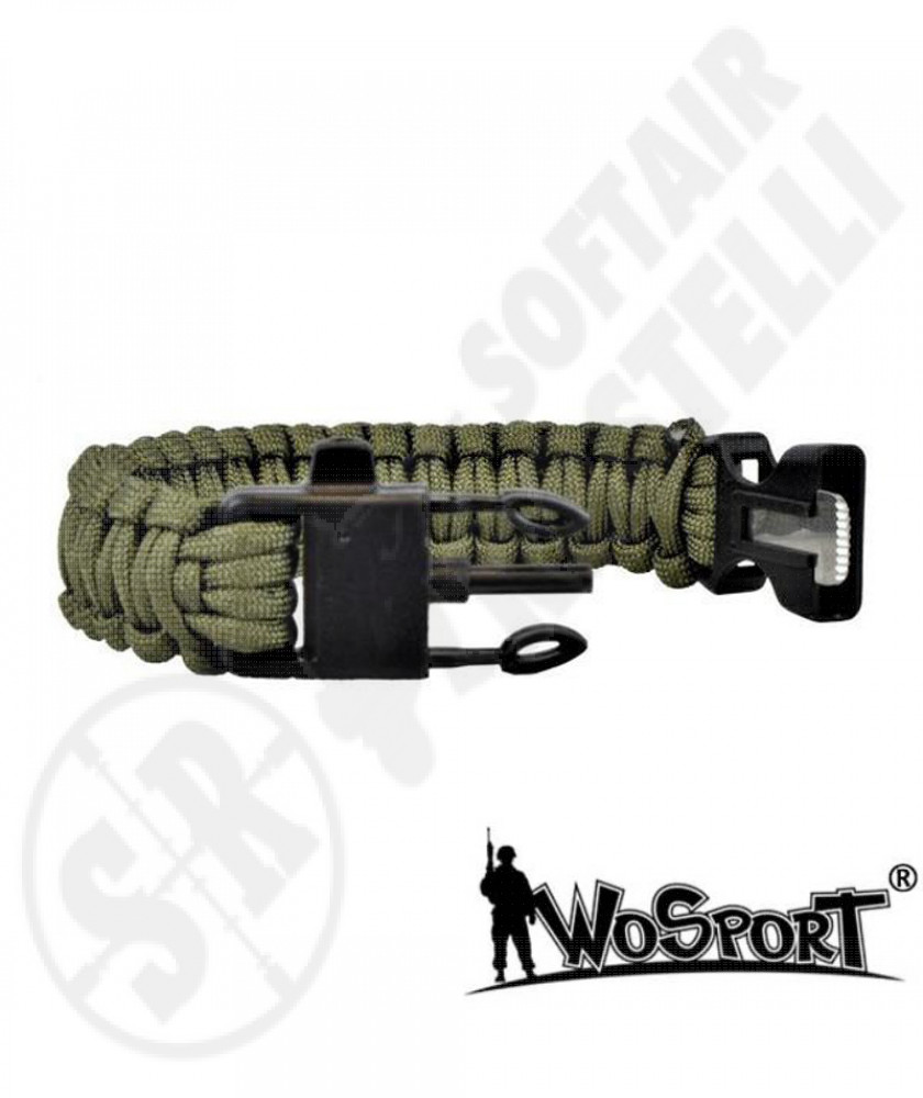 Braccialetto Survival 3 in 1 - Verde - WoSport (WO-SL42V)